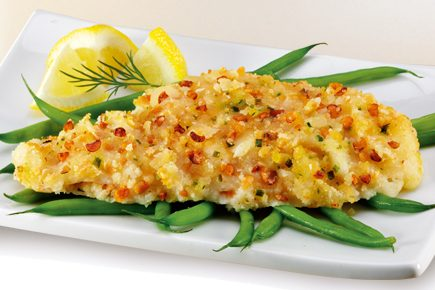 sea cuisine Almond crusted flounder