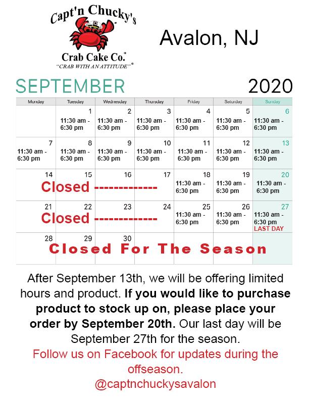 Avalon September Calendar 2020 2